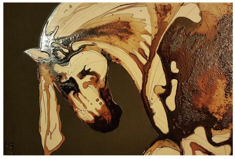 alteredside Jessica Potenza - unique coffee technique with acrylic paints