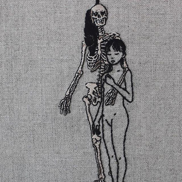 alteredside Adipocere - hand embroidery exclusively on natural linen